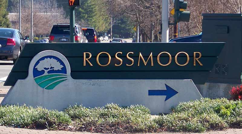 Rossmoor sign in front of the gate in one of the Bay Area's best 55+ communities